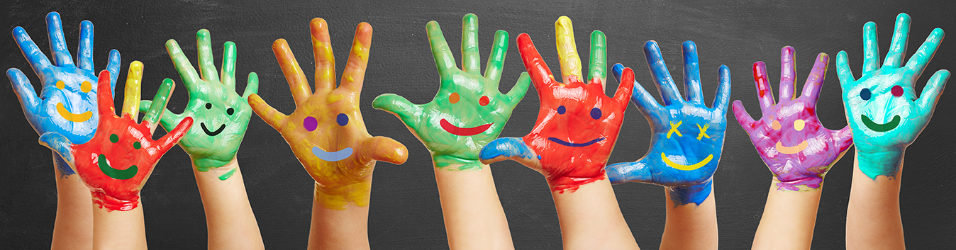 kids hands raised with finger painted happy faces on them - LRMS library automation software