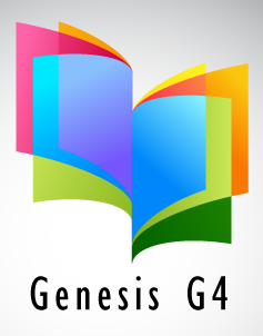A stylized book image with rainbow colored pages and the words Genesis G4 underneath it