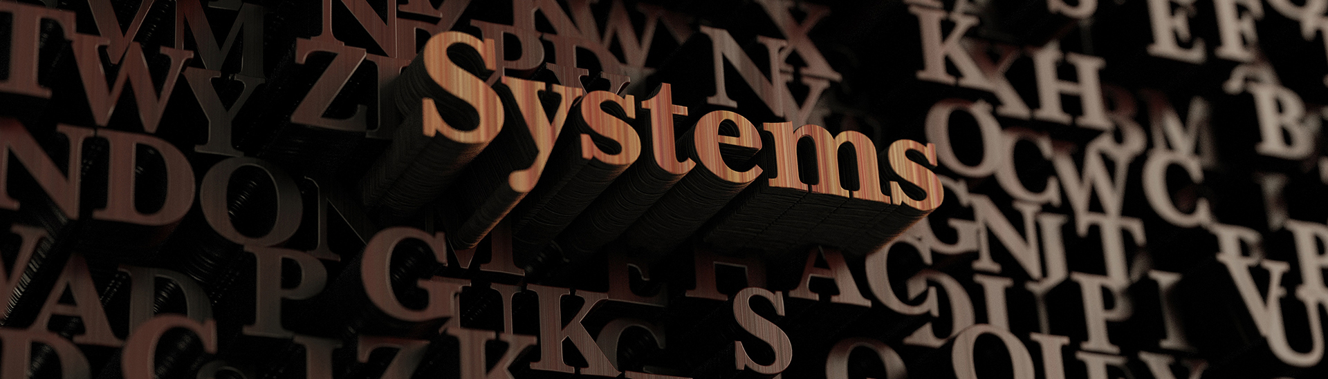 Raised wooden letters that spell the word systems - LRMS - g4 library automation software